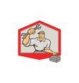 Mechanic Hold Spanner Wrench Toolbox Shield vector image vector image
