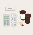 medical bottles with pills capsules sketch vector image