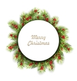 Natural Winter Frame Made in Fir Twigs and Berries vector image vector image