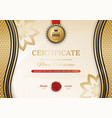 official black certificate with gold wave design vector image vector image