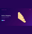 online shopping or banking isometric concept vector image