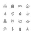 plants - flat line icons vector image
