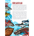 poster of fresh fish or sea food vector image vector image