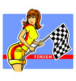 Race Flag Girl vector image vector image