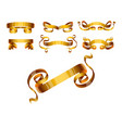 ribbons realistic gold tape flag banner vector image