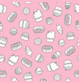 seamless doodle pattern with ice creams and cakes vector image