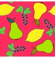 Seamless pattern of currant pear and lemons vector image