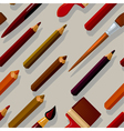 seamless pattern with pencils and brushes vector image