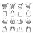 shopping cart and bag set vector image
