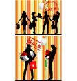 shopping silhouettes vector image vector image