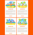 summer fun kids on beach spending vacations set vector image vector image