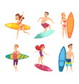 summer surf characters funny mascots in vector image