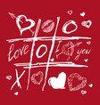 tic tac toe valentines day red white love sketch vector image