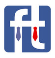 two letter f dressed in tie shirt and suit vector image vector image