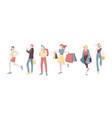 various urban people character walking woman vector image