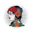 vintage girl face tattoos vector image vector image