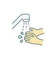wash your hands with water color line icon vector image vector image