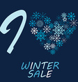 with snow flake and message I love winter sale vector image vector image