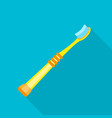 yellow kid toothbrush icon flat style vector image vector image