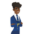 young african stewardess standing with folded arms vector image vector image