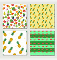 set of seamless fruit pattern vector image
