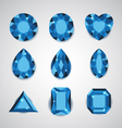 Blue Diamonds and Ruby Icons Set vector image