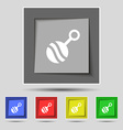 Baby rattle icon sign on original five colored vector image