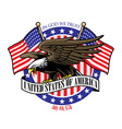 eagle grip the USA ribbon sign with the flag vector image