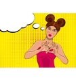 Pop art woman with hands heart sign vector image