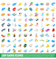 100 sand icons set isometric 3d style vector image vector image