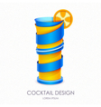 3D cocktail blue hawaii design vector image
