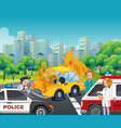 accident scene with policeman and ambulance on vector image vector image