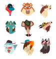 animals wearing hats and sunglasses hipster vector image vector image