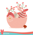 Basket with easter eggs and flower vector image vector image