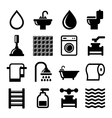 Bathroom and Water Icons Set vector image vector image