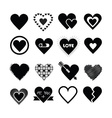 black silhouette valentines day hearts icon set vector image vector image