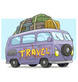 cartoon cute violet retro van bus with luggage vector image vector image