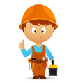 Cartoon handyman with tools belt and toolbox vector | Price: 1 Credit (USD $1)