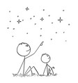 cartoon of father and son watching night sky stars vector image