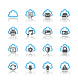 Cloud computing icons reflection vector image vector image