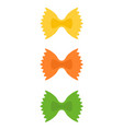 colored farfalle pasta flat icon isolated vector image vector image