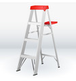 construction white and red folding ladder vector image