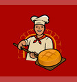 cook bakes bread chef baker cartoon vector image