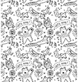 Cute animal wild objects seamless pattern vector image