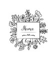 doodle flowers and leaves label vector image vector image