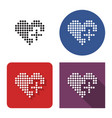 dotted icon heart with plus sign add to vector image