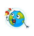 earth planet cartoon character icon looking vector image