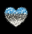 estonia flag sparkling heart badge vector image