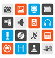 Flat Media and household equipment icons vector image vector image