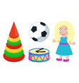 football ball and doll toys vector image vector image